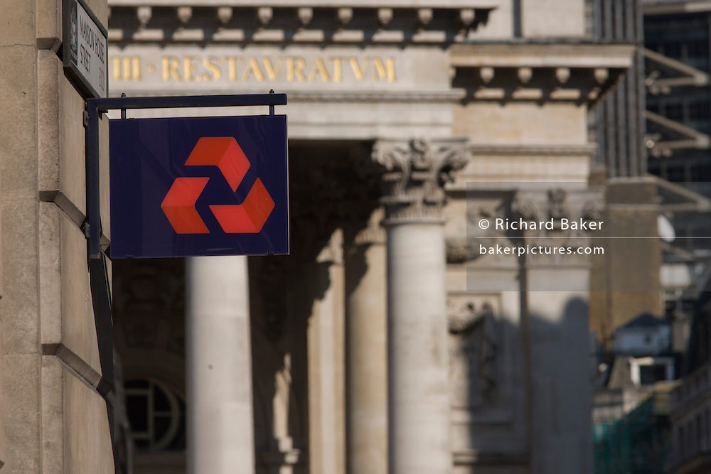 Natwest Bank plc sign and architecture of Cornhill Exchange, City of London.