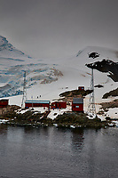 Panorama of Paradise Harbor and Brown Station (Estación Científica Almirante Brown) in Antarctica from the Deck of the Hurtigruten MS Fram. (12 of 16) Image taken with a Fuji X-T1 camera and Zeiss 32 mm f/1.8 lens (ISO 200, 32 mm, f/16, 1/500 sec). Raw images processed with Capture One Pro, Focus Magic, Photoshop CC 2015, and AutoPano Giga Pro