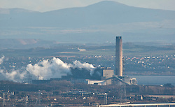 Longannet power station, the large coal-fired power station in Fife capable of co-firing biomass, natural gas and sludge. The station is situated on the north bank of the Firth of Forth, near Kincardine on Forth. Its generating capacity of 2,400 megawatts is the highest of any power station in Scotland.View from the slope of the Dumyat, a hill at the western extremity of the Ochil Hills, in central Scotland..Pic © Michael Schofield...
