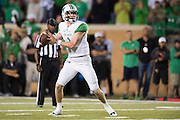 Marshall Thundering Herd quarterback Chase Litton (1) drops back to pass against the North Texas Mean Green during the 2nd half at Apogee Stadium in Denton, Texas on October 8, 2016. (Cooper Neill for The Herald-Dispatch)