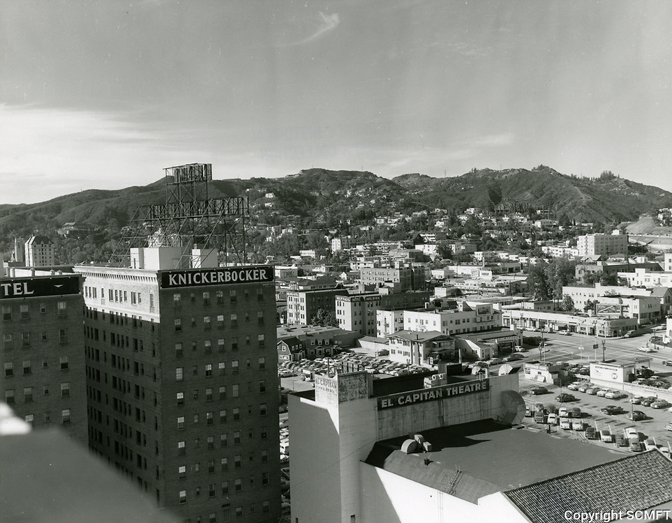 1954 Panorama looking NW from Hollywood Blvd. and Vine St.