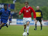 Fotball. Privatlandskamp U21. Sandefjord. 20.05.2002.<br /> Norge v Nederland 1-1.<br /> Aleksander Midtsian, Norge og Lyn.<br /> Foto: Morten Olsen, Digitalsport