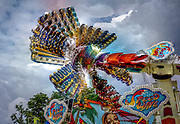 Multi-exposure shot of the Speed Wave ride at the Vienna Prater amusement park