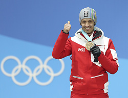 PYEONGCHANG, Feb. 15, 2018  Bronze medalist Lukas Klapfer from Austria poses for photos during the medal ceremony of individual gundersen NH/10KM event of nordic combined at Pyeongchang 2018 Winter Olympic Games at Medal Plaza, PyeongChang, South Korea, Feb. 15, 2018. (Credit Image: © Wu Zhuang/Xinhua via ZUMA Wire)