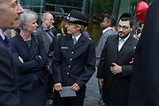 Two days after the London Bridge and Borough Market terrorist attack, Londoners from all faiths and religions attended a vigil outside City Hall, on Monday 5th June 2017, in the south London borough of Southwark, England. Metropolitan Police Superindent Elizabeth Liz Hughes met inter-faith community leaders while a prominent armed police presence guarded dignitaries and the public who came to the Southbank to remember the seven killed and many others left with life-changing injuries. The British spirit of defiance and to carry on with every day life, endures.