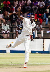 Zimbabwe bowler Christopher Mpofu appeals for a wicket in action during the 100th test match played by Zimbabwe in a match with Sri Lanka at Harare Sports Club 29 October 2016.