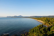 High angle view at sunrise of Four Mile Beach in Port Douglas, Queensland, Australia