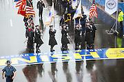 April 14, 2014 - Boston, Massachusetts, USA - <br /> <br /> Boston Marathon Bombing Anniversary<br /> <br /> Hundreds gather at the Boston Marathon finish line in Boston, Massachusetts to mark the one year anniversary of the Boston Marathon Bombing with a moment of silence and a flag raising ceremony. United States Vice President Joe Biden attended the event. <br /> ©Exclusivepix