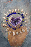 """Amethyst Heart circled by Indigo blossoms and quartz crystal. <br /> <br /> Amethyst is a meditative and calming stone which works in the emotional, spiritual, and physical planes to promote calm, balance, and peace.<br /> <br /> """"When My Heart Was Broken This Is What I Found"""" ~Elena Ray"""