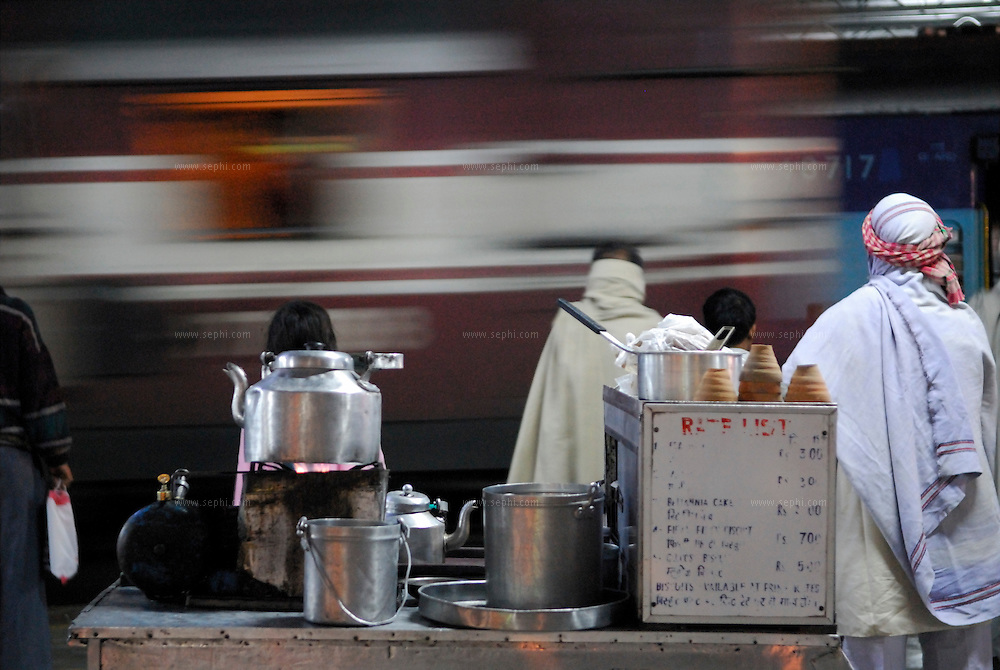 A chai (Tea) stall at night at Haridwar railway station