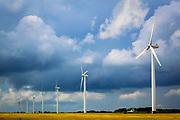 Row of wind turbines in Denmark