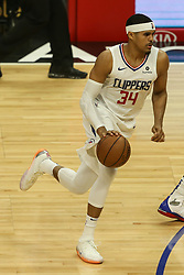 December 17, 2018 - Los Angeles, CA, U.S. - LOS ANGELES, CA - DECEMBER 17: Los Angeles Clippers Forward Tobias Harris (34) out at the three point line during the Portland Trail Blazers at Los Angeles Clippers NBA game on December 17, 2018 at Staples Center in Los Angeles, CA.. (Photo by Jevone Moore/Icon Sportswire) (Credit Image: © Jevone Moore/Icon SMI via ZUMA Press)