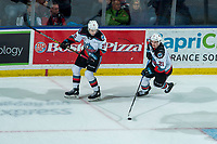 KELOWNA, BC - FEBRUARY 8: Tyson Feist #25 and Jake Lee #21 of the Kelowna Rockets skate during third period against the Portland Winterhawks at Prospera Place on February 8, 2020 in Kelowna, Canada. (Photo by Marissa Baecker/Shoot the Breeze)
