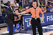 Maurizio Buscaglia, Alessandro Vicino arbitro<br /> Dolomiti Energia Aquila Basket Trento - Happy Casa New Basket Brindisi<br /> LegaBasket 2017/2018<br /> Trento, 08/04/2018<br /> Foto M.Ceretti / Ciamillo - Castoria