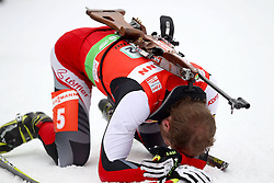 11.12.2011, Biathlonzentrum, Hochfilzen, AUT, E.ON IBU Weltcup, 2. Biathlon, Hochfilzen, Staffel Herren, im Bild Mesotitsch Daniel (Team Austria) am boden // during Team Relay E.ON IBU World Cup 2th Biathlon, Hochfilzen, Austria on 2011/12/11. EXPA Pictures © 2011. EXPA Pictures © 2011, PhotoCredit: EXPA/ nph/ Straubmeier..***** ATTENTION - OUT OF GER, CRO *****