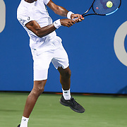 GAEL MONFILS hits a backhand during his second round match at the Citi Open at the Rock Creek Park Tennis Center in Washington, D.C.