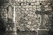 Graves in the cemetery at St Stephen Church, Zaton, Dalmatian Coast, Croatia
