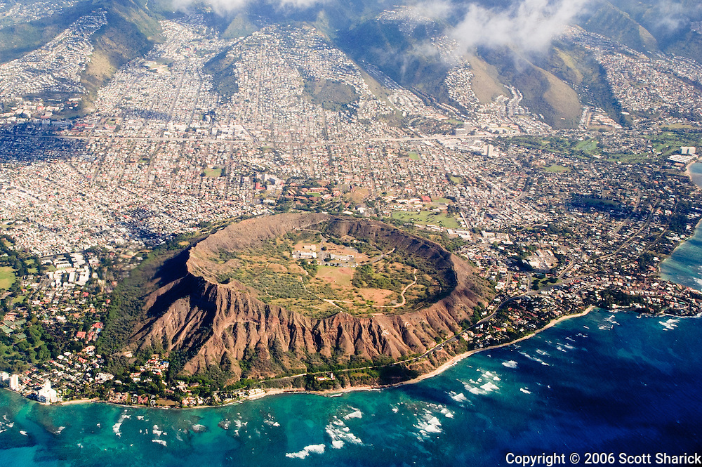A aerial view of Diamond Head Crater on the island of Oahu in Hawaii.