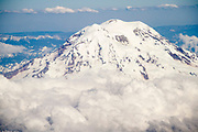 Aerial view of Mount Ranier sticking above the clouds.Mount Ranier National Park, Washington