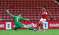 Middlesbrough's Djed Spence goes round Coventry City's Marko Marosi before slotting his side's second<br /> <br /> Photographer Alex Dodd/CameraSport<br /> <br /> The EFL Sky Bet Championship - Middlesbrough v Coventry City - Tuesday 27th October 2020 - Riverside Stadium - Middlesbrough<br /> <br /> World Copyright © 2020 CameraSport. All rights reserved. 43 Linden Ave. Countesthorpe. Leicester. England. LE8 5PG - Tel: +44 (0) 116 277 4147 - admin@camerasport.com - www.camerasport.com
