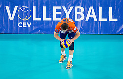 Carlos Moreno of ACH during volleyball match between ACH Volley Ljubljana and Bre Banca Lannutti Cuneo (ITA) in Playoff 12 game of CEV Champions League 2012/13 on January 15, 2013 in Arena Stozice, Ljubljana, Slovenia. (Photo By Vid Ponikvar / Sportida.com)