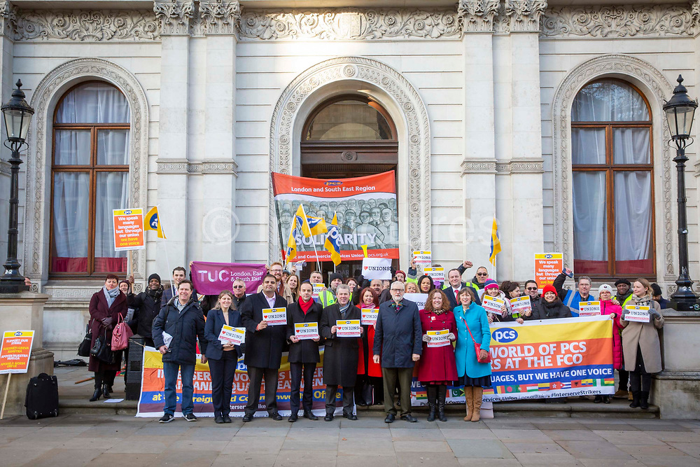 A number of Labour MPs, join Mark Serwotka, Fran Heathcote and Francis O'Grady and workers of Interserve, the cleaning contractors for the Foreign and Commonwealth Office FCO who are striking for better working conditions and union recognition on the 11th of February 2020 in Westminster, London, United Kingdom.