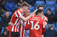 Sunderland defender Jimmy Dunne (30) scores a goal 0-1 and celebrates during the EFL Sky Bet League 1 match between Oxford United and Sunderland at the Kassam Stadium, Oxford, England on 9 February 2019.