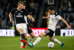 Kevin McDonald of Fulham takes on David Nugent of Derby County - Mandatory by-line: Robbie Stephenson/JMP - 11/05/2018 - FOOTBALL - Pride Park Stadium - Derby, England - Derby County v Fulham - Sky Bet Championship