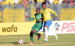 11/08/2018. Lerato Lamola of Lamontville Golden Arrows fights for the ball with Motjeka Madisha of mamelodi Sundowns during their MTN8 quater finals at Lucas Moripe Stadium.<br /> Picture: Oupa Mokoena/African News Agency (ANA)