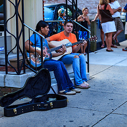 Lancaster, PA - July 5, 2013: Street musicians entertain the summer crowd on First Friday, a monthly event in the city.