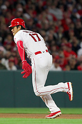 May 18, 2018 - Anaheim, CA, U.S. - ANAHEIM, CA - MAY 18: Shohei Ohtani (17) of the Angels hustles over to third base from second base during the major league baseball game between the Tampa Bay Rays and the Los Angeles Angels on May 18, 2018 at Angel Stadium of Anaheim in Anaheim, California. (Photo by Cliff Welch/Icon Sportswire) (Credit Image: © Cliff Welch/Icon SMI via ZUMA Press)