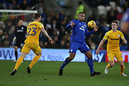 Kenneth Zohore of Cardiff city (c) in action . EFL Skybet championship match, Cardiff city v Preston North End at the Cardiff city stadium in Cardiff, South Wales on Friday 29th December 2017.<br /> pic by Andrew Orchard, Andrew Orchard sports photography.