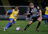 Photo: Steve Bond.<br />Notts County v Hereford United. Coca Cola League 2. 02/10/2007. Lionel Ainsworth (L) has Paul Mayo (R) backpeddling