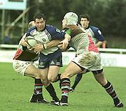 Twickenham. Surrey Harlequins vs Bath Rugby at the Stoop<br /> [Mandatory Credit: Peter SPURRIER:Intersport Images]<br /> <br /> Gareth Cooper, Bath's scrum half is held by Harlequin's Paul Burke and Roy Winters/