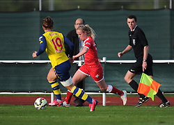 Bristol Academy's Nadia Lawrence in action against former team mate Jemma Rose - Photo mandatory by-line: Paul Knight/JMP - Mobile: 07966 386802 - 09/05/2015 - SPORT - Football - Bristol - Stoke Gifford Stadium - Bristol Academy Women v Arsenal Ladies FC - FA Women's Super League