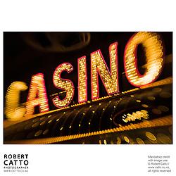 Neon sign reading 'Casino' at Fremont Street, Las Vegas, Nevada, USA.<br />