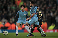 Gaël Clichy (Manchester City) holds off Patrick Roberts (Celtic) during the Champions League match between Manchester City and Celtic at the Etihad Stadium, Manchester, England on 6 December 2016. Photo by Mark P Doherty.