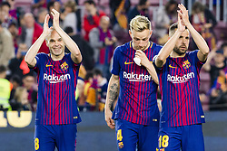 May 6, 2018 - Barcelona, Catalonia, Spain - FC Barcelona midfielder Andres Iniesta (8), FC Barcelona midfielder Ivan Rakitic (4) and FC Barcelona defender Jordi Alba (18) agree the support to the followers during the match between FC Barcelona v Real Madrid, for the round 36 of the Liga Santander, played at Camp nou  on 6th May 2018 in Barcelona, Spain. (Credit Image: © Urbanandsport/NurPhoto via ZUMA Press)