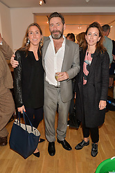 Left to right, ZOE KARAFYLAKIS SPERLING, MAT COLLISHAW and ANAIS FERRIER at a party to celebrate the reopening of the Turps Art School held at Shapero Modern, 32 St.Georges Street, London on 14th October 2014.