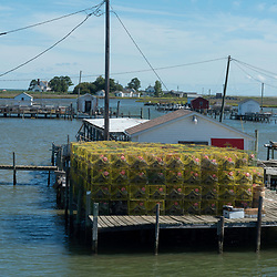August 4, 2017 - Tangier Island, VA - Crab traps are lined up on the dock of the waterman's crab shock off the coast of Tangier Island.<br /> Photo by Susana Raab/Institute