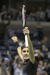 August 30, 2017 - Flushing Meadows, New York, U.S - Roger Federer reacts after winning his match on Day Two of the 2017 US Open against Francis Tiafoe at the USTA Billie Jean King National Tennis Center on Monday August 29, 2017 in the Flushing neighborhood of the Queens borough of New York City. Federer defeated Tiafoe, 4-6, 6-2, 6-1, 1-6, 6-4. (Credit Image: © Prensa Internacional via ZUMA Wire)