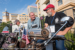 Californians Victor Boocock (L) on his 1914 Harley-Davidson next to Mark Loewen on his 1912 Excelsior on the Atlantic City boardwalk at the start of the Motorcycle Cannonball Race of the Century. Stage-1 from Atlantic City, NJ to York, PA. USA. Saturday September 10, 2016. Photography ©2016 Michael Lichter.