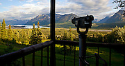 Alaska. Scenic view of Matanuska Glacier area form the deck of the Gunsight Mountain Lodge, along the Glenn Highway.