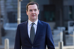 © Licensed to London News Pictures. 05/05/2016. LONDON, UK.  Chancellor, GEORGE OSBORNE arriving to cast an election vote in the London elections to elect a the new Mayor of London and London Assembly members at Westminster Methodist Central Hall this morning.  Photo credit: Vickie Flores/LNP