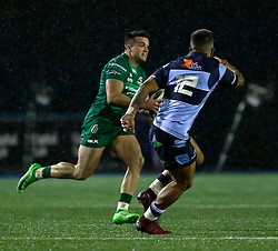 Cillian Gallagher of Connacht under pressure from Rey Lee-Lo of Cardiff Blues<br /> <br /> Photographer Simon King/Replay Images<br /> <br /> Guinness PRO14 Round 14 - Cardiff Blues v Connacht - Saturday 26th January 2019 - Cardiff Arms Park - Cardiff<br /> <br /> World Copyright © Replay Images . All rights reserved. info@replayimages.co.uk - http://replayimages.co.uk