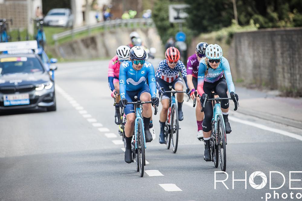 oscelin Lowden (GBR/Drops LeCol) and  Leah Thomas (USA/Movistar) leading the front group<br /> <br /> Women's Elite Brabantse Pijl 2021 <br /> 1 Day Race: Lennik - Overijse 127km<br /> <br /> ©Rhode.Photo