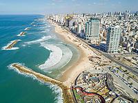 Aerial view of Tel-Aviv coastline, Israel.