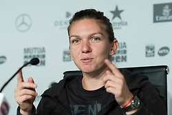 Press conference of Simona Halep aduring day six of the Mutua Madrid Open tennis at La Caja Magica on May 11, 2017 in Madrid, Spain. (Photo by Oscar Gonzalez/NurPhoto) *** Please Use Credit from Credit Field ***
