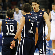 Anadolu Efes's Kerem Gonlum (R) during their Turkish Airlines Euroleague Basketball Top 16 Game 7 match Anadolu Efes between Real Madrid at the Abdi ipekci Arena in Istanbul, Turkey, Thursday, February 14, 2013. Photo by TURKPIX