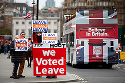 © Licensed to London News Pictures. 15/01/2019. London, UK. Pro-Brexit demonstrators seen in Westminster. Today, MPs are due to vote on British Prime Minister Theresa May's EU withdrawal deal, after the previous vote in December was postponed. Photo credit : Tom Nicholson/LNP